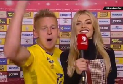 Ukraine footballer's epic celebration in front of WAG reporter