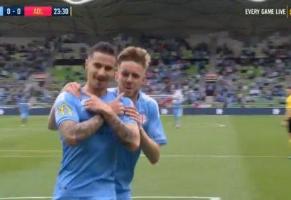 City's Jamie Maclaren nets quickfire double against Reds