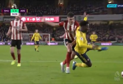 Arsenal's shock loss to Sheffield summed up by youngster's yellow card-earning dive