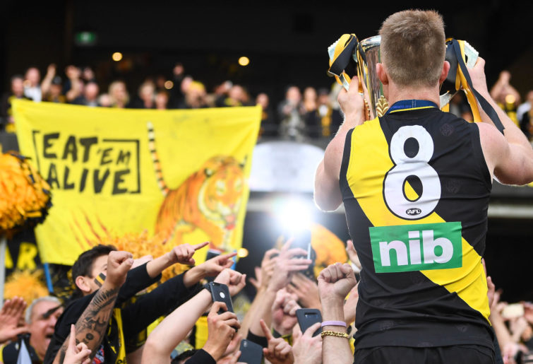 Jack Riewoldt shows off the premiership cup