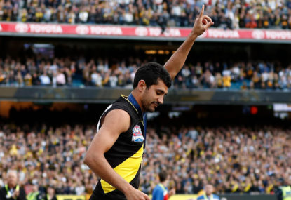 Richmond Tigers' Marlion Picket after receiving his premiership medal