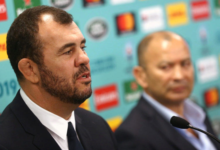 Michael Cheika with Eddie Jones lurking in the background