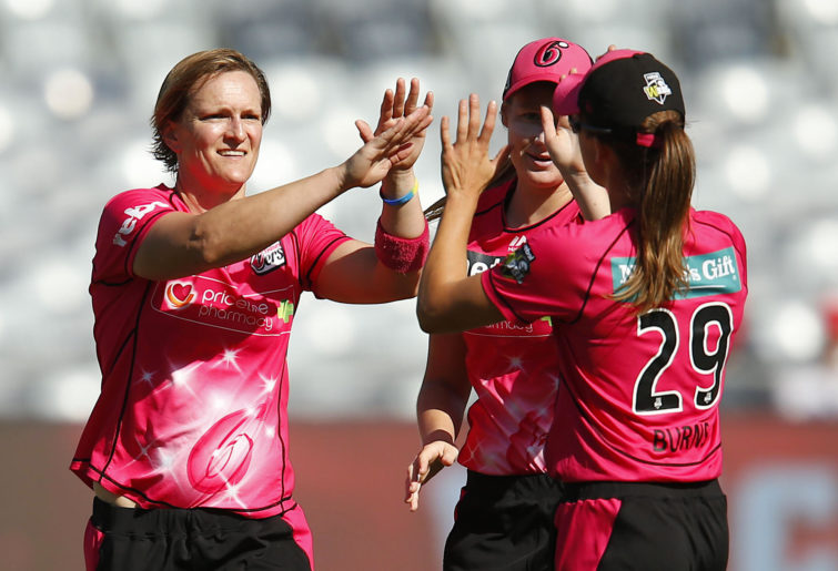 Sarah Aley of the Sixers celebrates a wicket