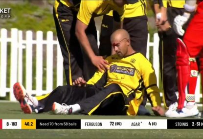 Ashton Agar in a bad way after attempted catch goes very, very wrong