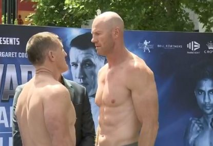 Paul Gallen and Barry Hall face off at the Code War weigh-in