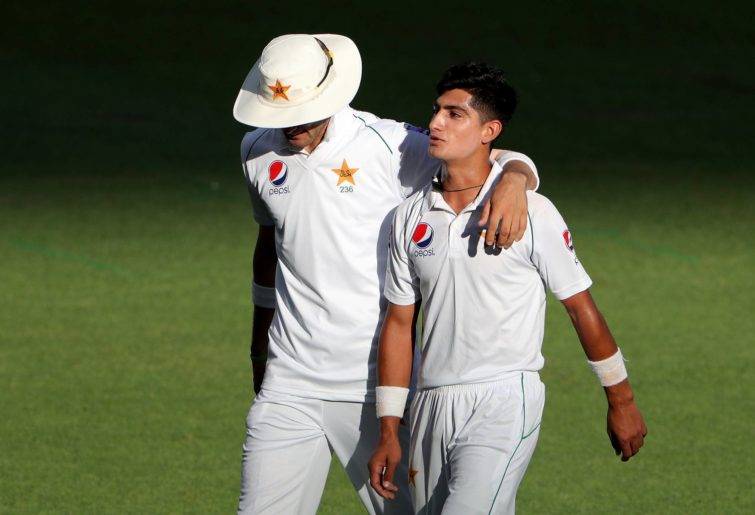 Naseem Shah (right) of Pakistan walks off the field with Shaheen Shah Afridi