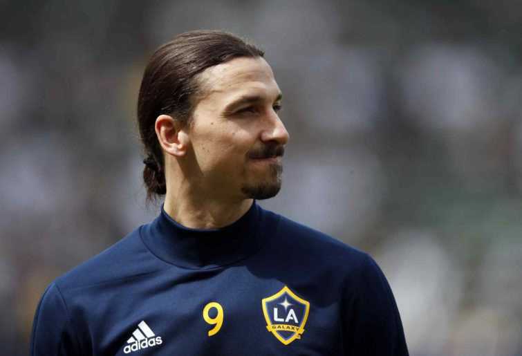Zlatan Ibrahimovic looks on