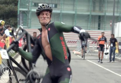 Cyclist borrows his mate's bike and trashes it