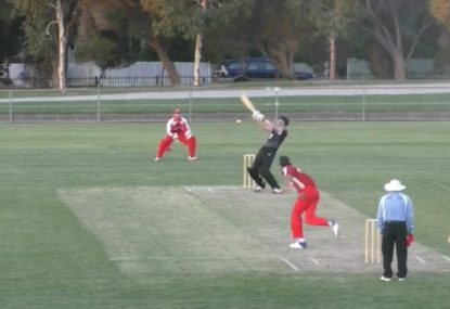 Batsman's glorious ramp over keeper to the fence