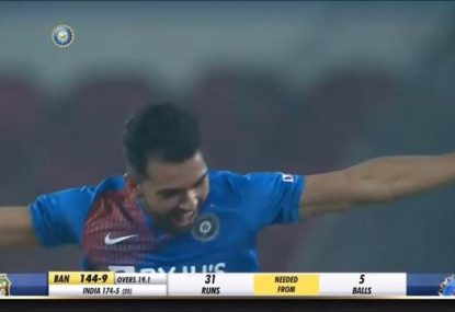 Indian quick takes hat-trick to claim best ever T20I bowling figures