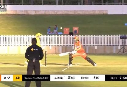 Meg Lanning simply lets the ball crash into her stumps for truly weird dismissal