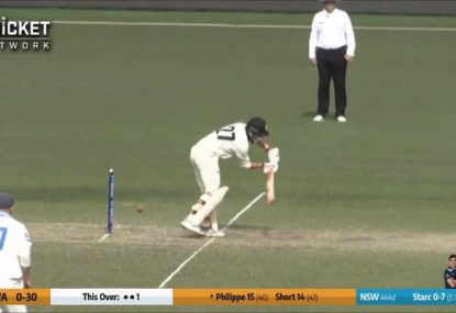 WA opener gets castled by Mitchell Starc after nutmegging himself