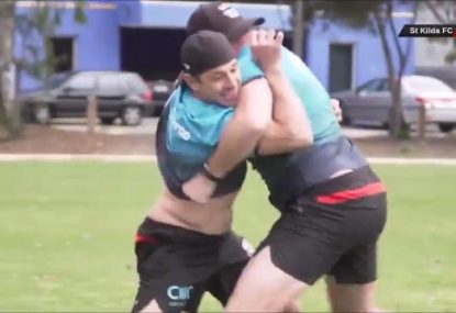 Billy Slater stars in St Kilda's own version of 'Battle of the Codes'