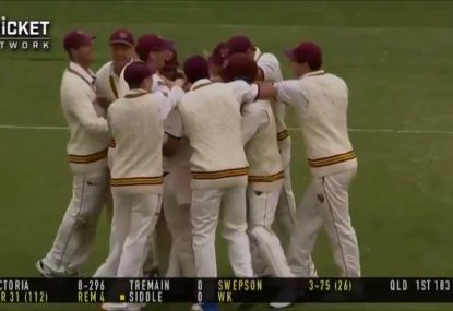 QLD leggie claims hat-trick- with a little help from a trigger-happy umpire