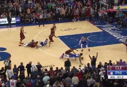Chaotic scenes as 76ers-Cavs clash ends in mad scramble