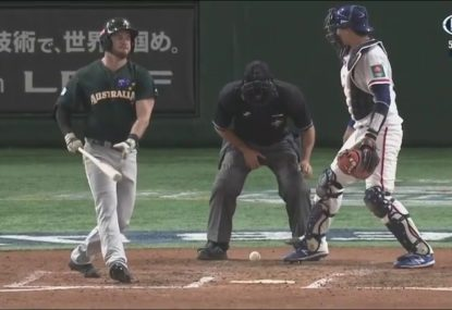 Baseball umpire doesn't even flinch after painful blow