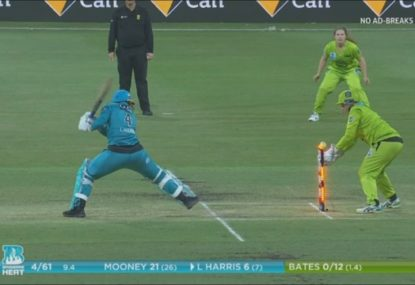 Laura Harris survives stumping after rare simultaneous contact