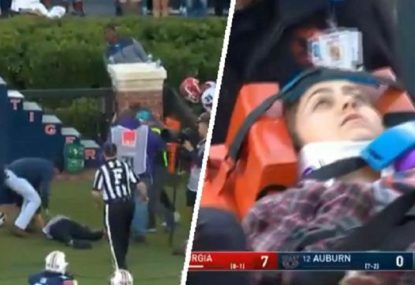 Student photographer knocked out cold after accidental collision with college RB
