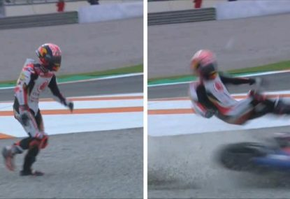 The scary moment a rider was cleaned up by a rival's bike at the Valencia MotoGP