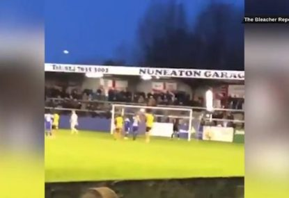 Goalkeeper's horror penalty attempt causes utter mayhem