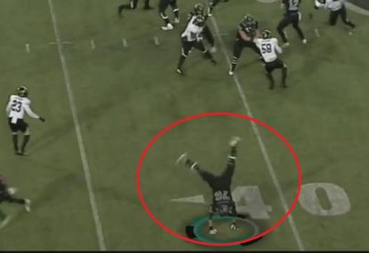 College footballer reaches into his bag of tricks with bizarre 'play'