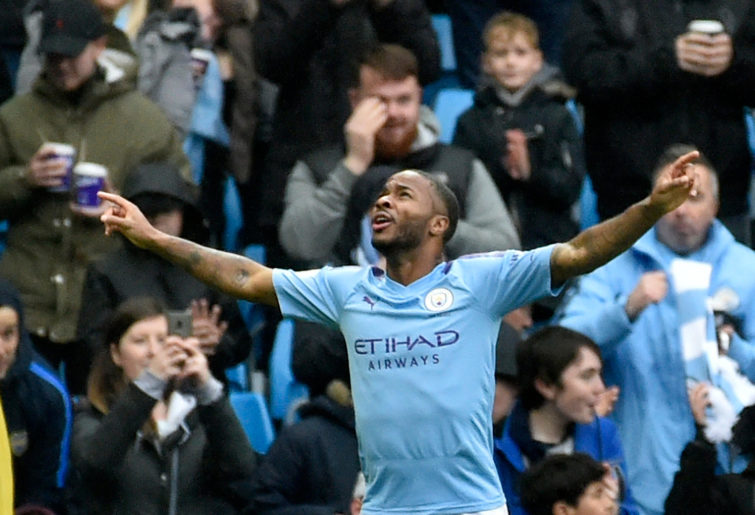 Manchester City's Raheem Sterling celebrates after scoring his side a goal