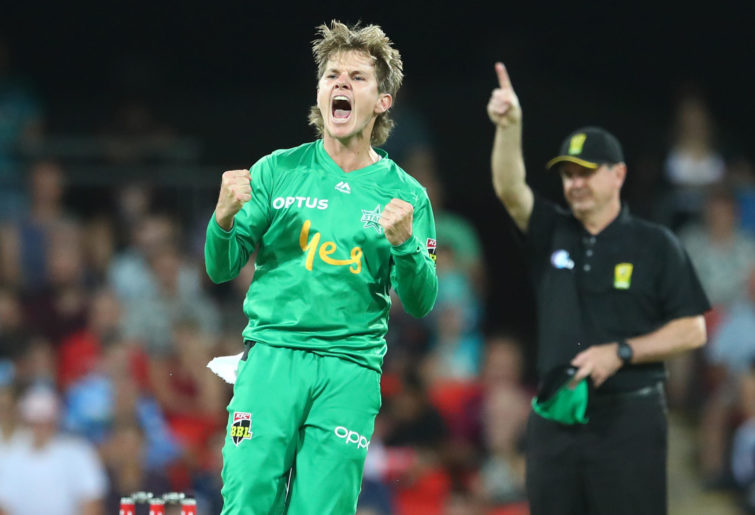 Adam Zampa of the Stars celebrates a wicket during the Big Bash League
