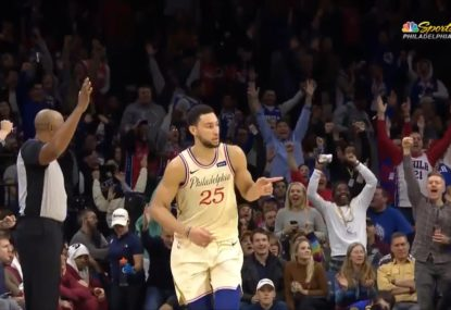 Ben Simmons drains his second NBA three-pointer in career-best performance