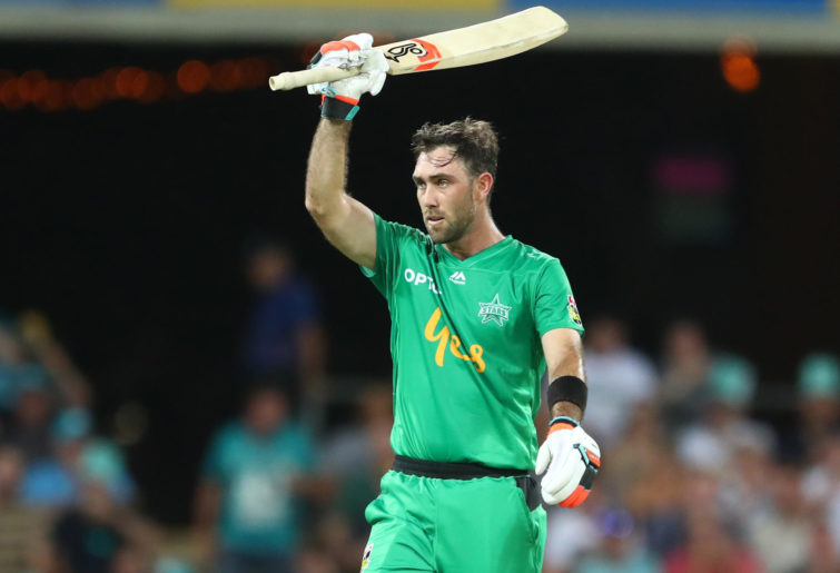 Glenn Maxwell of the Stars celebrates 50 runs during the Big Bash League