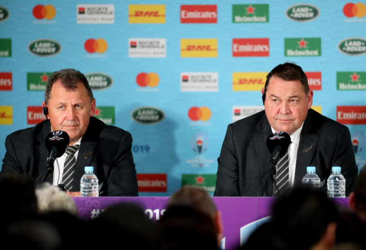 Assistant coach Ian Foster and head coach Steve Hansen of the All Blacks