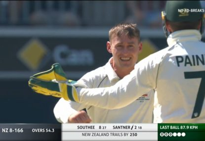 Marnus Labuschagne cleans up Mitch Santner with a beauty