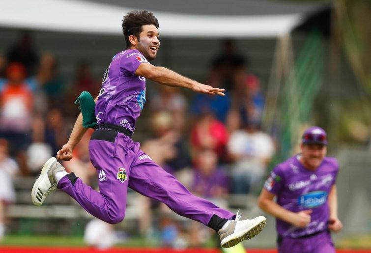 Qais Ahmad of the Hurricanes celebrates