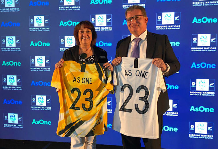 FFA chairman Chris Nikou and NZF president Johanna Wood announcing the joint bid for the 2023 Women's World Cup