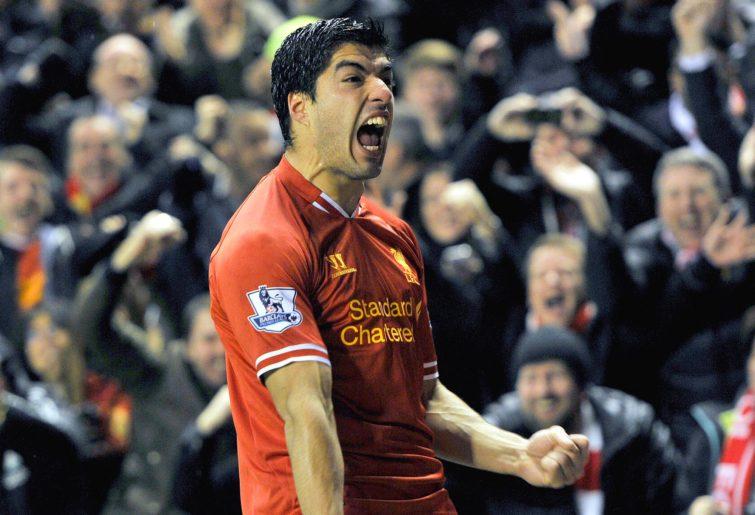Luis Suarez celebrates a goal for Liverpool