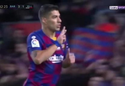 This Luis Suarez back-heel goal is completely bonkers