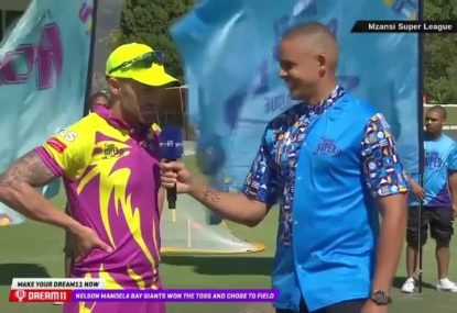 Faf Du Plessis has commentator in stitches after an MSL coin toss