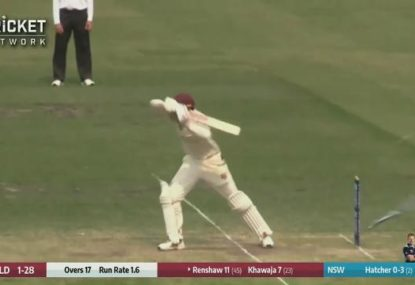 Matt Renshaw pays the price for leaving once too often against Blues paceman