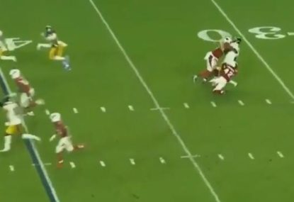 Aussie punter gets crunched after fake punt goes wrong