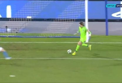 Youngest ever Champions League keeper's nightmare blooper 2 minutes in