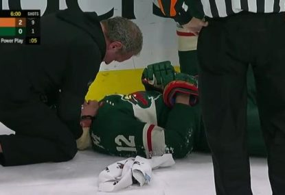 Worrying scenes as Minnesota hockey player injured after collision with linesman