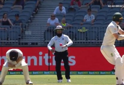 Aleem Dar shows off lightning reflexes to casually avoid a full-blooded Travis Head pull