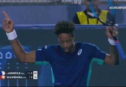 Gael Monfils calls for more music to dance to after hitting ace