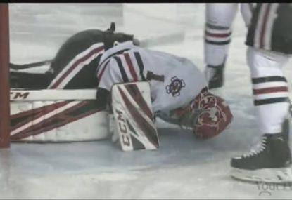 GRAPHIC: Canadian junior hockey goalie suffers gruesome leg cut in high-speed collision