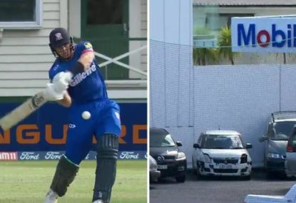 Martin Guptill launches two sixes into nearby petrol station