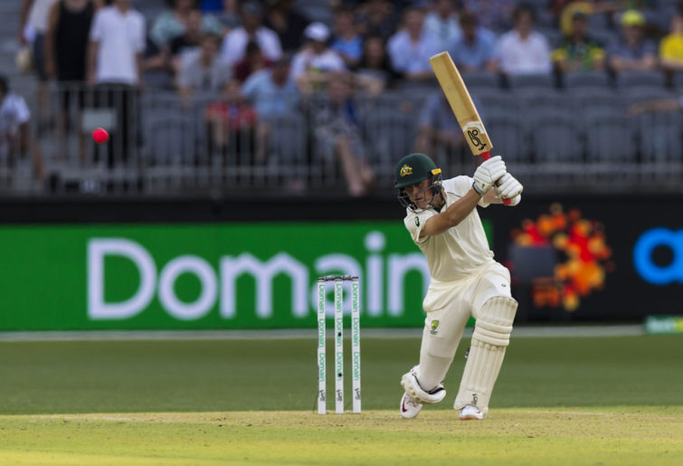 Marnus Labuschagne plays a cover drive