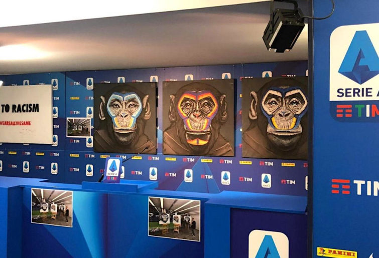 Artwork depicting monkeys used by a Serie A anti-racism campaign