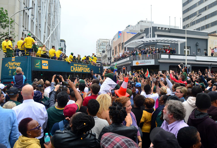 The Springboks pass through a massive crowd on their Rugby World Cup trophy tour