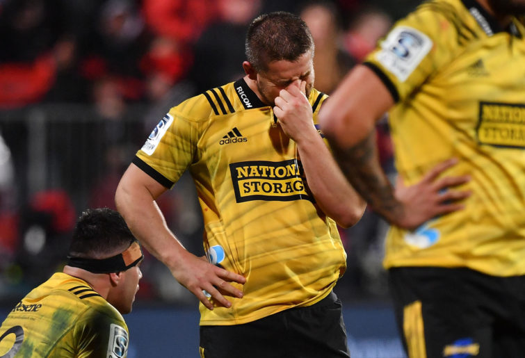 Hurricanes' captain Dane Coles reacts after a loss