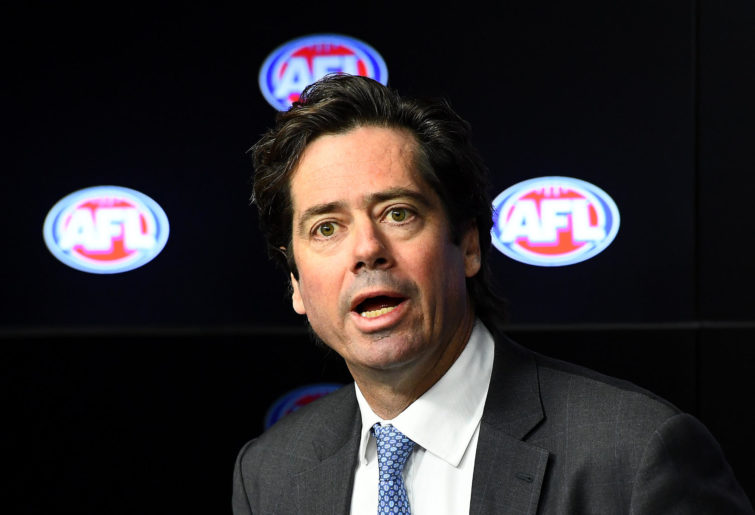 AFL Chief Executive Officer Gillon McLachlan speaks to the media