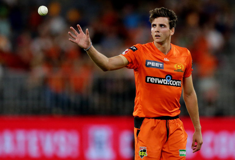 Jhye Richardson of the Scorchers prepares to bowl during the Big Bash League